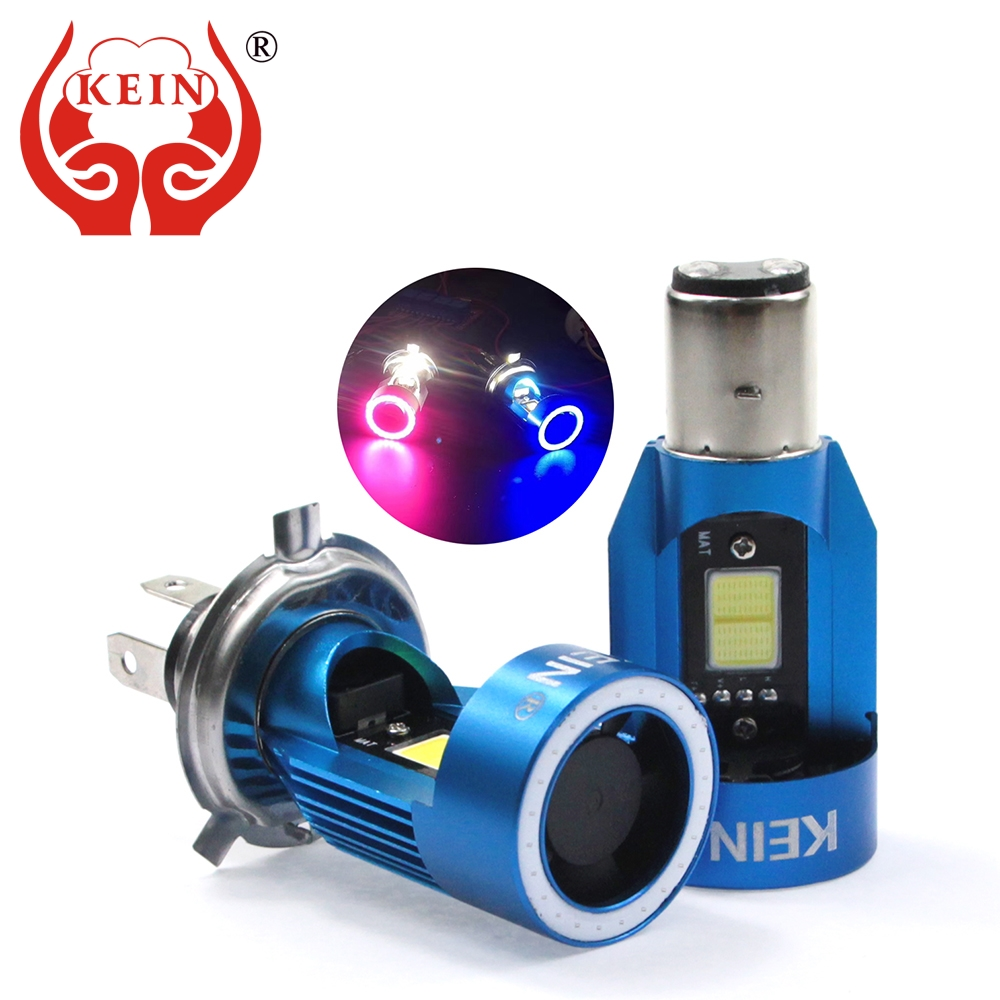 KEIN NEW H4 <font><b>Led</b></font> Angel eyes COB Motorcycle <font><b>Headlight</b></font> Bulbs H6 ba20d <font><b>HS1</b></font> <font><b>LED</b></font> Motorbike Head Lamp Scooter Accessories Fog Light 25W image