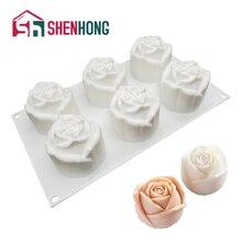 SHENHONG Silicone Mold Cake Rose Flowers Shape 3D Mould Wedding Dessert Mousse Candy Bakeware Tools