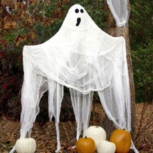 Halloween Gauze Decoration Super-Size Creepy Cloth Gray Black White Party Supplies(without skullcap))
