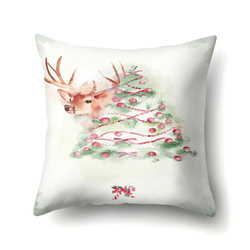 Santa Deer Pattern Christmas Cushion Cover Decorative Throw Pillow 45*45cm Polyester Pillowcase Xmas New Year Home Decor 40543 4