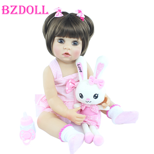 55 cm Full Silicone Body Reborn Baby Doll For Girl Princess Babies Dress Up Boneca Child Birthday Gift Bathe Play House Toy