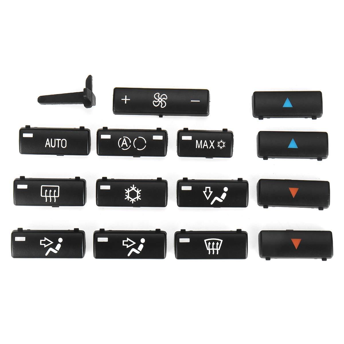 Колпачки для кнопок E39 X5, 14 кнопок, климатическая панель управления, A/C, кнопки управления, накладки для BMW E39, E53, 525i, 530i, 540i, M5, X5