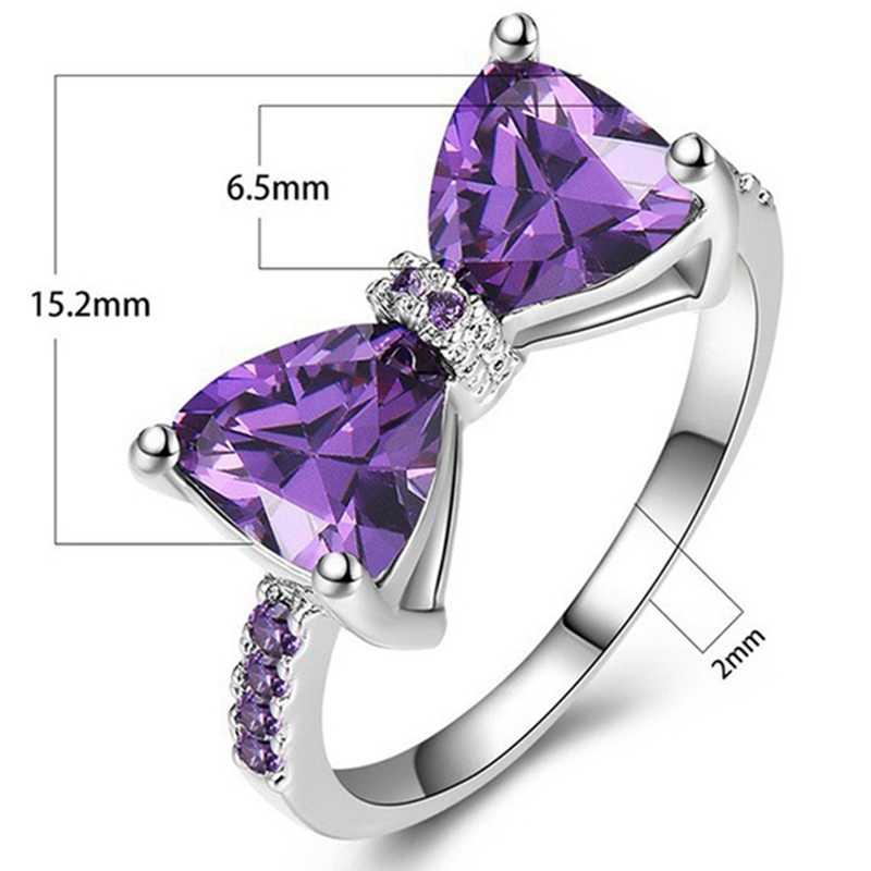 Новинка, Фиолетовое Женское Обручальное кольцо, роскошное хрустальное кольцо с бантом, циркониевое очаровательное обручальное кольцо, модное ювелирное изделие для девушек, вечерние, подарок