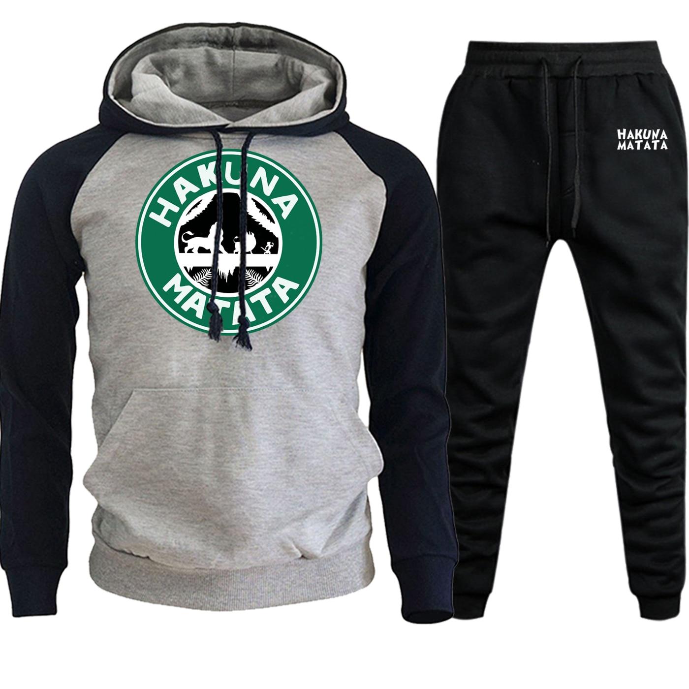 Cartoon Streetwear Mens Raglan Hooded The Lion King Sweatshirts 2019 Autumn Winter Fleece Suit Male Pullover+Pants 2 Piece Set