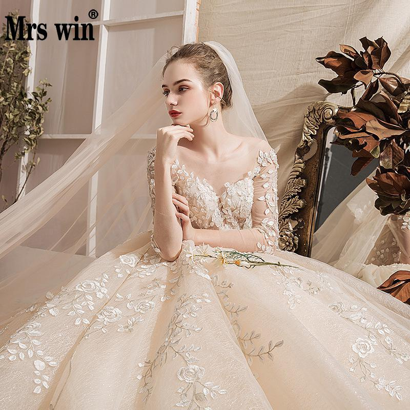 Wedding Dress 2020 The Full Sleeve Luxury Swee Train Ball Gown Princess Lace Embroider Vestido De Noiva Elegant Casamento Gown F