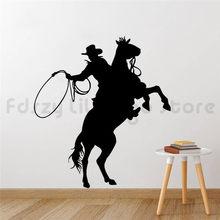 Autocollants muraux en vinyle pour Cowboy, étiquette amovible, pour équitation, Art mural, Poter Q381