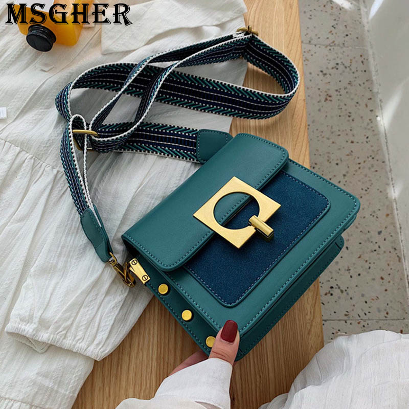 MSGHER Panelled Rivet Flap Women Shoulder Bag Frosted Leather Patchwork Wild Stripe Texture Vintage New 2019 Girl Bag WB3021
