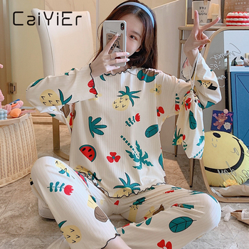 CAIYIER New Cartoon Pineapple Print Pajamas Set Women Thin O-Neck Nightwear Autumn Long Sleeve Sleepwear With Cloth bag Homewear - discount item  35% OFF Women's Sleep & Lounge