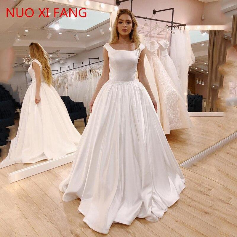 NUOXIFANG 2020 New A Line Wedding Dress Satin Sleeveless Cheap Price Bride Dress Sexy Open Back Vestido De Novia Wedding Gowns