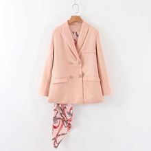 Temperament solid color lady pink jacket suit female 2019 new autumn double-breasted womens blazer Scarf decoration detachable