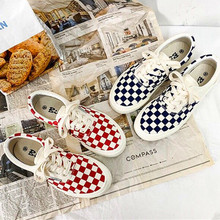 Couple new plaid chessboard canvas shoes casual sho