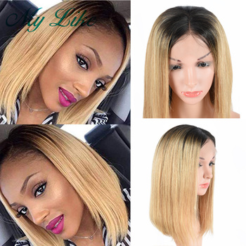 Ombre 1b/27 Honey Blonde Lace Front Human Hair Wigs Pixie Cut Straight Short Human Hair Wigs Brazilian Remy Bob Lace Front Wigs цена 2017