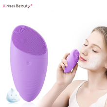 Facial Cleansing Brush Sonic Vibration Silicone Face Cleaner Remove Blackhead Electric Deep Pore Cleaning waterproof Massager цена и фото
