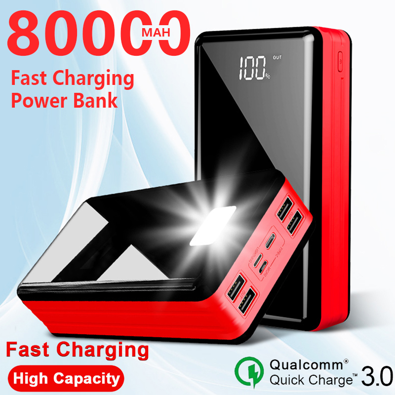 Batería externa portátil de viaje de 80000 MAh para Xiaomi / Samsung / IPhone teléfono móvil Poverbank cargador rápido de alta capacidad