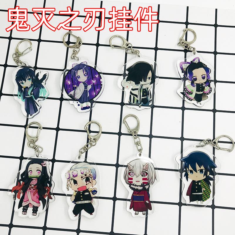 Anime Kamado Tanjirou Nezuko Agatsuma Zenitsu Tomioka Kimet Key Chain Acrylic Pendant Cartoon Double-Sided Pattern Customizable