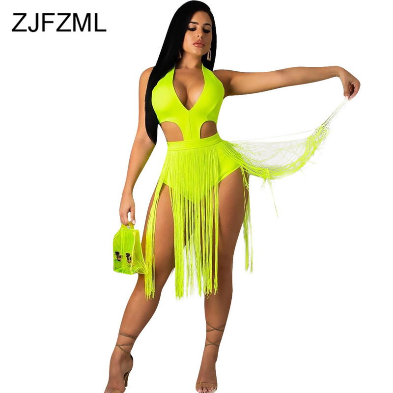 Waist Band Cut Out Tassels Sexy Beach Bodysuit Women Open Back Bandage Short Jumpsuit Summer V Neck Neon Green Bodycon Playsuit