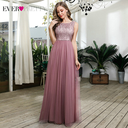 Prom Dresses Long 2020 Ever Pretty EP00783 Dusty Pink Beading Sequined A-line Sleeveless Tulle Party Gowns Robe De Soiree