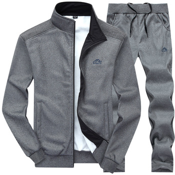 Tracksuits Men Polyester Sweatshirt Sporting Fleece 2020 Gyms Spring Jacket + Pants Casual Men's Track Suit Sportswear Fitness 2