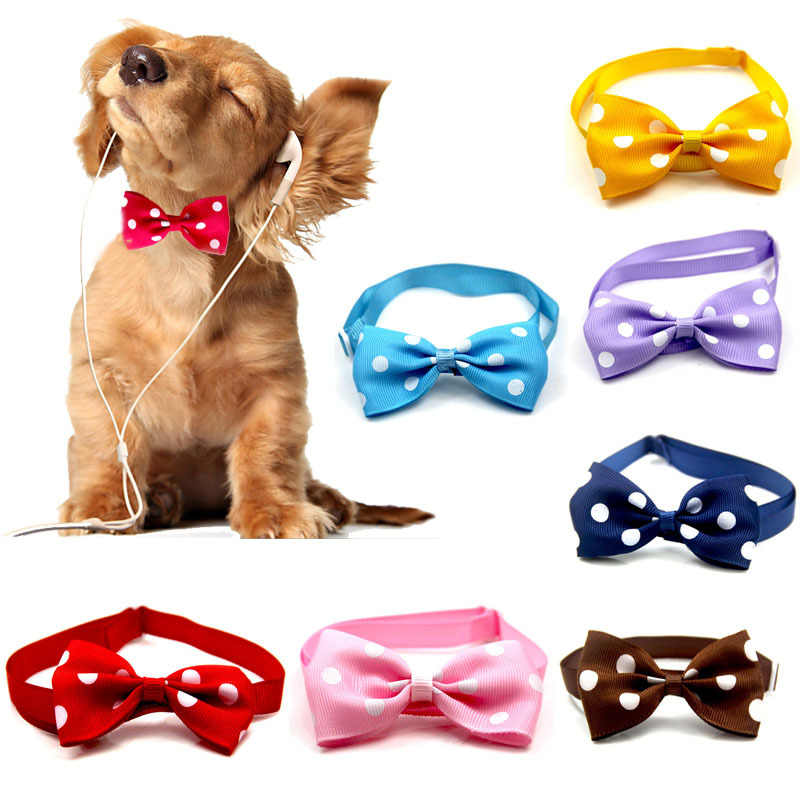 Cute Dot Useful Cute Dog Bow Tie Multicolor Pet Collar Convenient Pet Tie Neck Wear For Small medium Dogs Lovely Pet Accessories