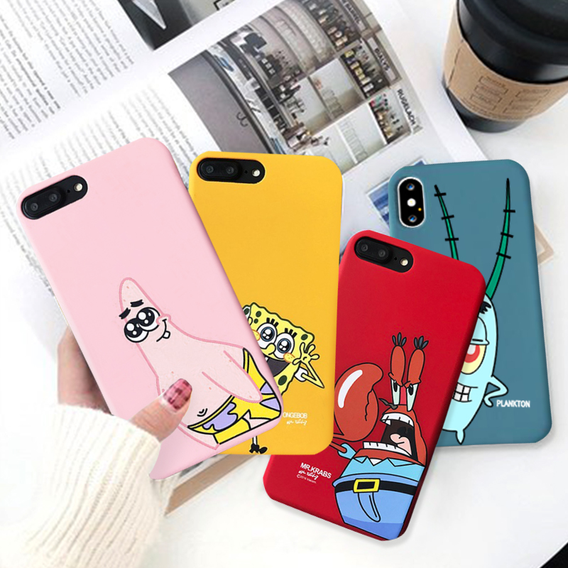 GYKZ Cute Cartoon Plankton Patrick Star Pattern Phone Case  For IPhone 6 6s XS MAX XR X 8 Plus Soft Silicone Back Cover Bag Capa