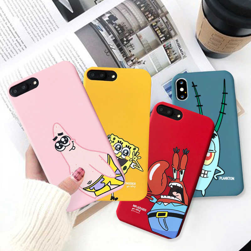 GYKZ Leuke Cartoon Plankton Patrick Star Patroon Telefoon Case Voor iPhone 6 6s XS MAX XR X 8 Plus zachte Siliconen Back Cover Tas Capa
