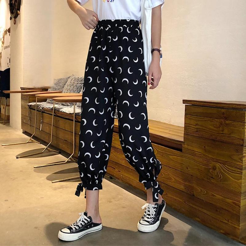 New Womens Wide Leg High Waist Casual Thin Summer Spring Moon Print Women Trousers Bow Knot Autumn Loose Fashion Pants