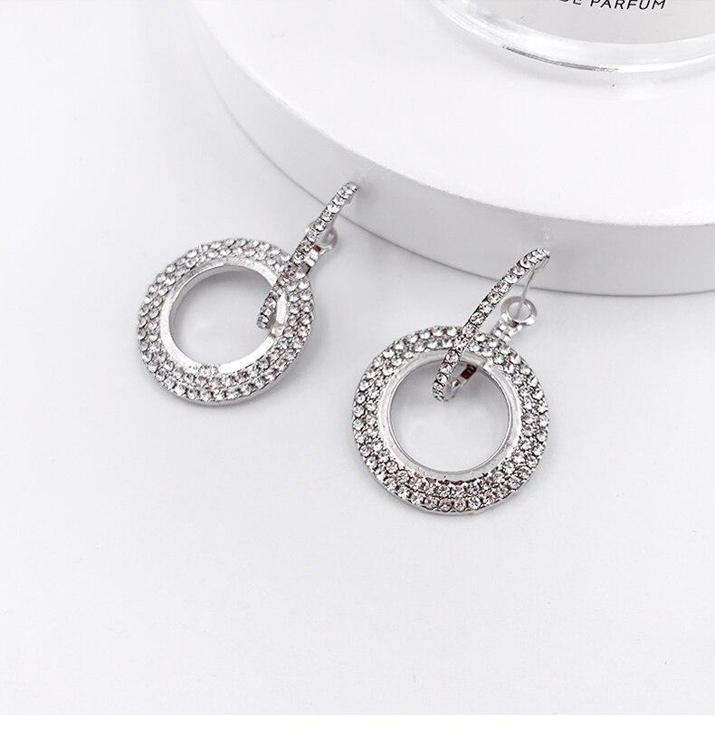 Дизайн модные Висячие Серьги Геометрические круглые блестящие стразы серьги женские ювелирные изделия - Окраска металла: Silver