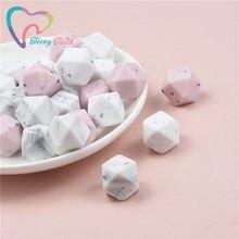 10 pçs mármore & cores gritty hexágono 14-17mm contas dentição silicone grânulos grau alimentício silicone jóias para bebê safty brinquedos contas