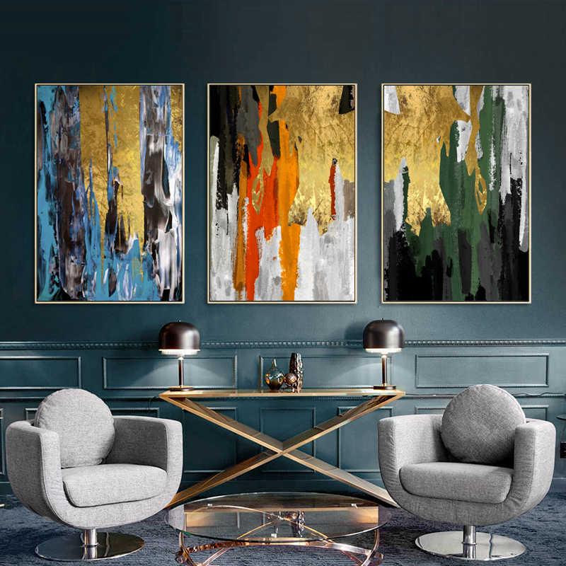 Dinding Seni Langit Biru Emas Poster Modern Gambar Kanvas Gambar Oil Lukisan Abstrak untuk Ruang Kantor Rumah Dekorasi Dibingkai