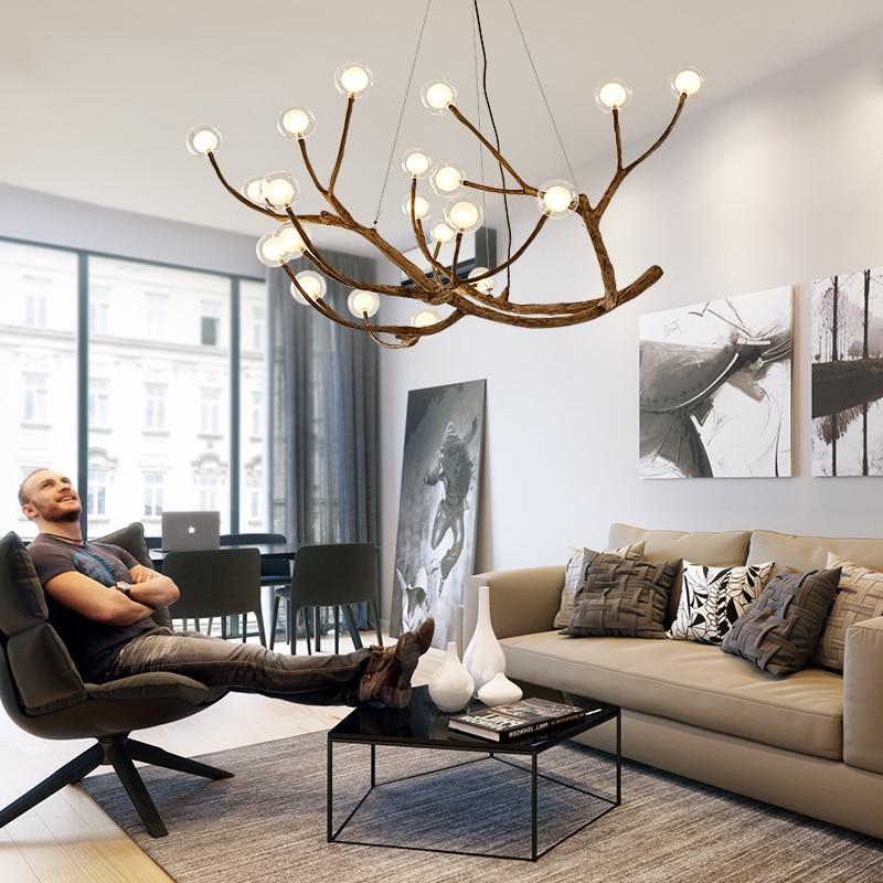 US $66.0 34% OFF|Nordic Lamp LED Pendant Lights Resin Iron Glass Bubble  Industrial Lamp Restaurant Bedroom Hanging lamp LOFT Designer Lamp on ...