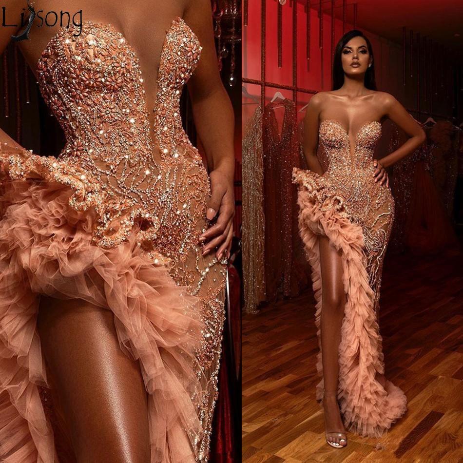 Aso Ebi Champagne Blush sirène robes de bal 2020 brillant perlé volants haute fente chérie arabe robe de soirée Occasion robe