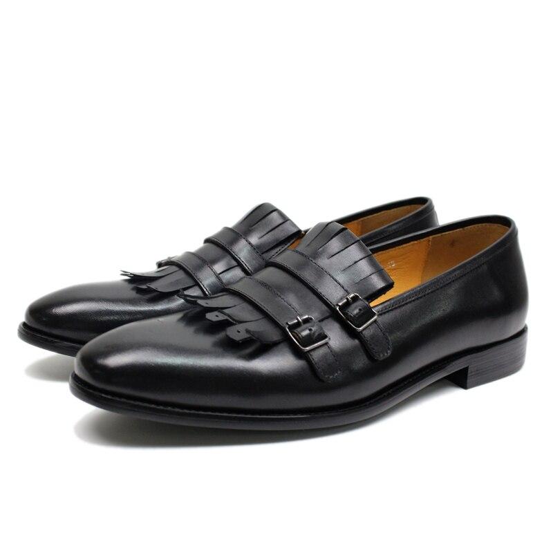 Respirant Style européen hommes mocassins en cuir véritable Double boucle moine sangle chaussures de mariage Banquet sans lacet chaussures pour hommes-in Chaussures d'affaires from Chaussures    2