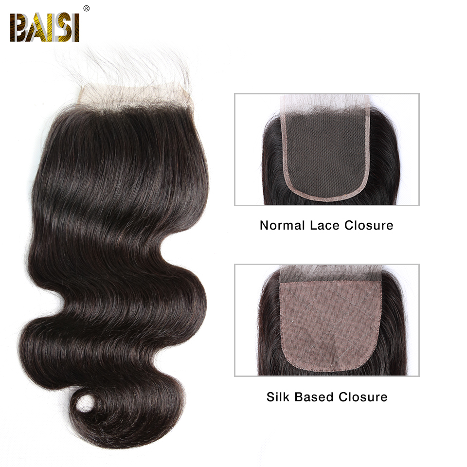 BAISI Hair Brazilian Body Wave Swiss Lace Closure 4x4 Middle Part Free Part Three Part 100% Human Hair-in Closures from Hair Extensions & Wigs    1