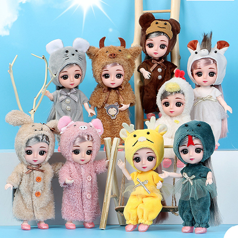 Mini muñecas Bjd de 16CM, ropa de moda, conjunto de peluches de animales bonitos, vestido, accesorios para niñas, juguetes para niñas, regalos DIY|Muñecas| - AliExpress