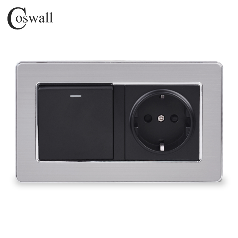 Coswall 16A EU Standard Wall Power Socket Outlet With 1 Gang 1 Way On / Off Light Switch Stainless Steel Panel 146mm*86mm