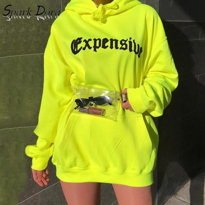 SparkDora 2019 Autumn Women's Hooded Letter Print Casual Loose Long Sleeve Pullovers Oversized Fluorescent Color Women Hoodies