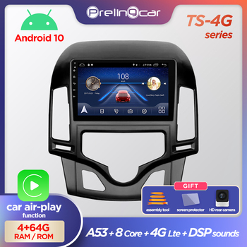 Prelingcar Android 10.0 System Car IPS Touch Screen Stereo For HYUNDAI I30 Automatic air conditioning player Stereo DSP image