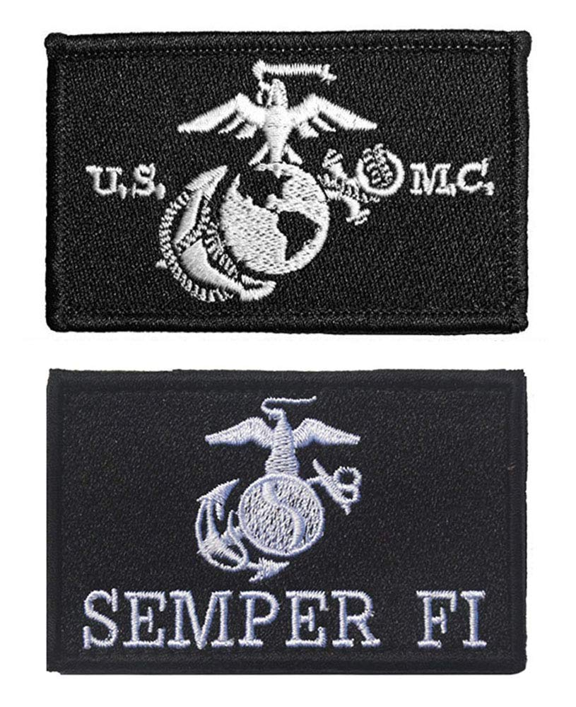 Antrix 2 Pcs Tactical US Marine Corps Vows Semper Fi Applique Fastener Hook and Loop Military Badge Morale <font><b>Patches</b></font> for Backpacks image