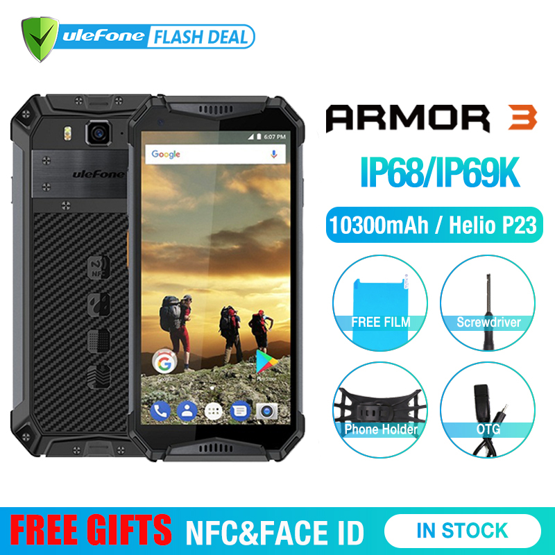 "Ulefone Armor 3 IP68 Waterproof Mobile Phone Android8.1 5.7"" FHD+ Octa Core 4GB+64GB NFC 21MP 10300mAh Global Version Smartphone-in Cellphones from Cellphones & Telecommunications"