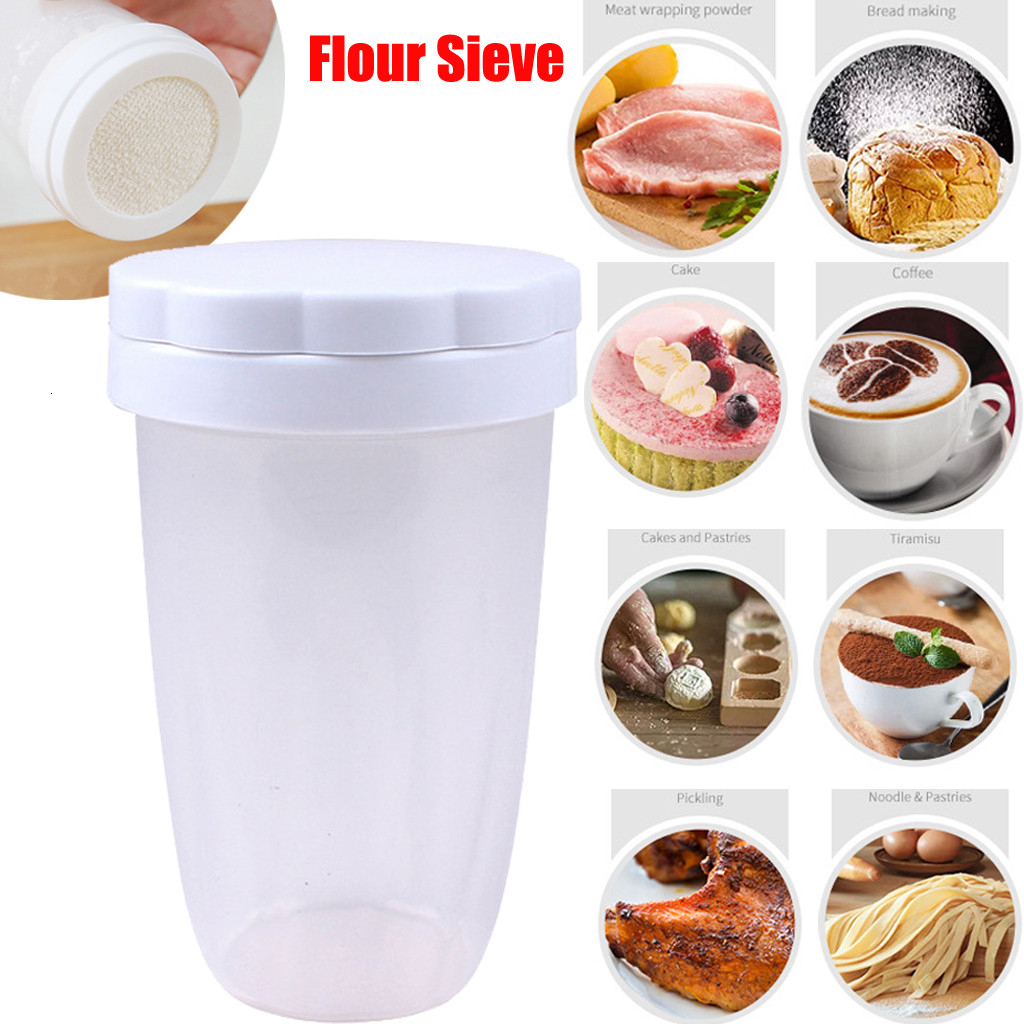 Household Chocolate Shaker Icing Sugar Powder Flour Powder Cocoa Coffee Sifter Shaker with cover Bakeware Baking Supply Kitchen
