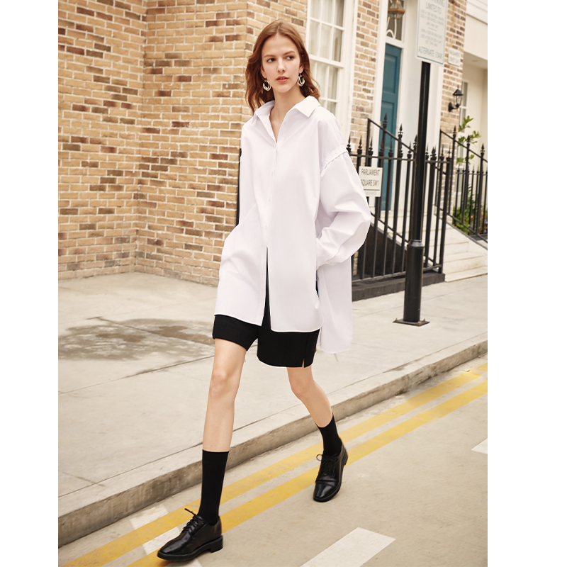 AEL Casual Loose Shirt  Women Lapel Collar Side Hight Split Lace Up Long Ladies Tops Streetwear Female 2019 Fashion New