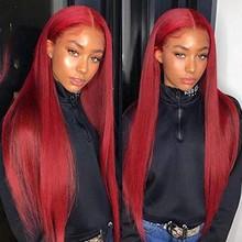 Бордовый парик из человеческих волос на сетке спереди, прямые 99J парики из человеческих волос, бразильские парики с T-образной частью на сетк...