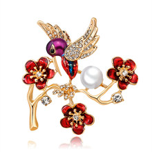 Plum Blossom Brooches Red Enamel Flower Magpie Bird Golden Ally Bouquet Brooch Pins Coat Jewelry High Quality Gift(China)