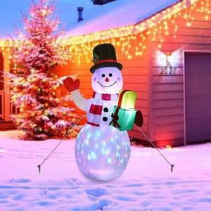 Image 3 - OurWarm Christmas Inflatable Greeting Snowman Santa Claus 5ft Giant Inflatable Blow Up Toy Garden Yard Decoration With LED Light