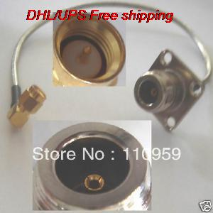 DHL/EMS 100 Pcs N Female Flange To SMA Male Right Angle Solder RG402-A2