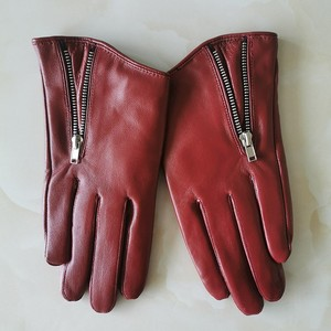 Image 3 - Pure Sheepskin Genuine Leather Woman Gloves Short Style Red With Zipper European Version French Elegance Female Mittens TB84