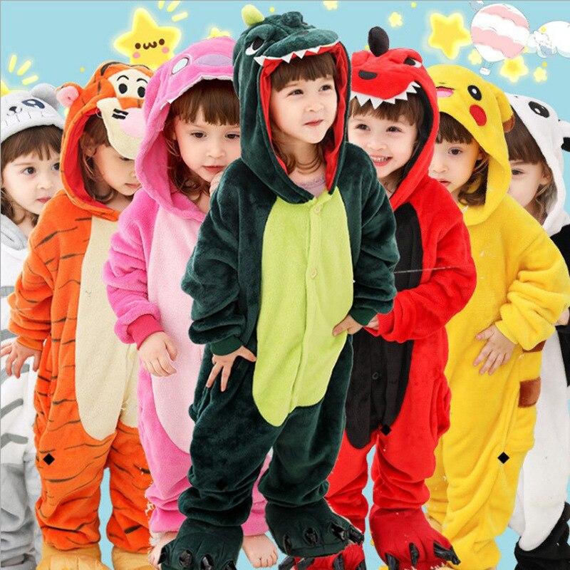 Flannel Kigurumi Children Pajamas Set Winter Hooded Animal Unicorn Pikachu Stitch Kids Pajamas For Boys Girls Sleepwear Onesies