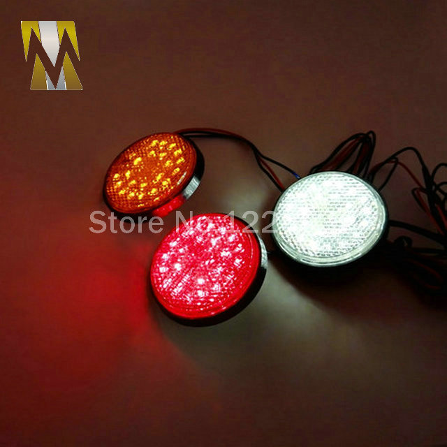 Red Lens Round Red LED Reflectors Brake Light For Universal Motorcycle Car Truck High Performance Turn Signal Light Tail Light