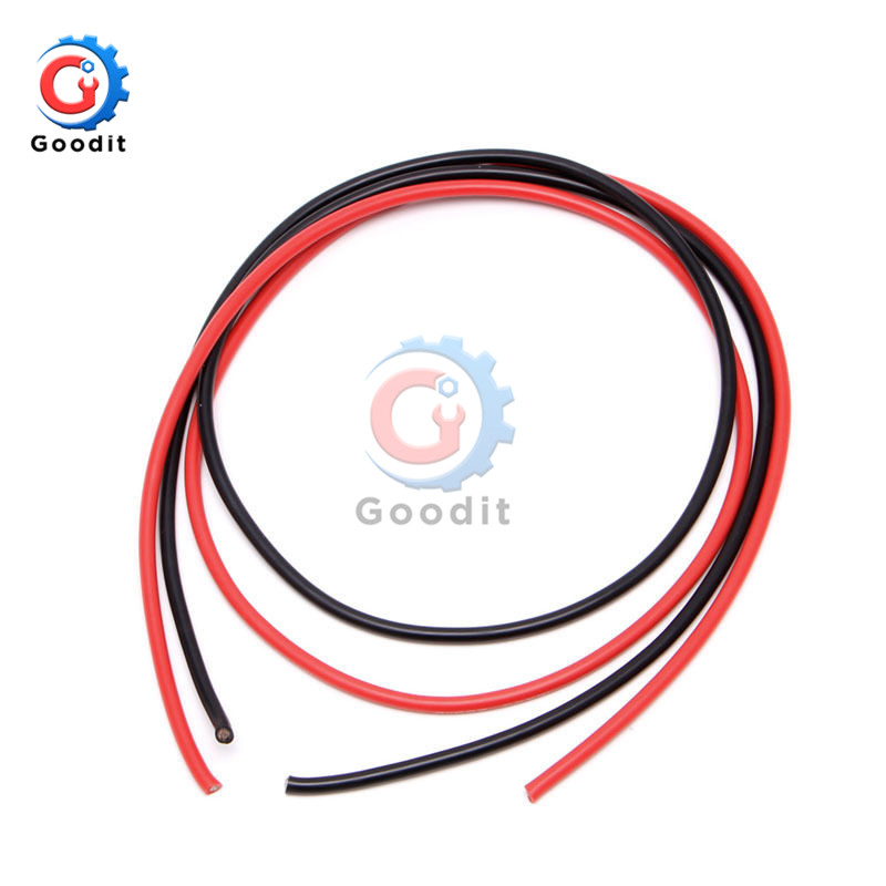 1 Pair Black/Red Two <font><b>12</b></font> <font><b>AWG</b></font> 6.5 Feet Gauge <font><b>Silicone</b></font> <font><b>Wire</b></font> Flexible Stranded Copper 2M 50A image