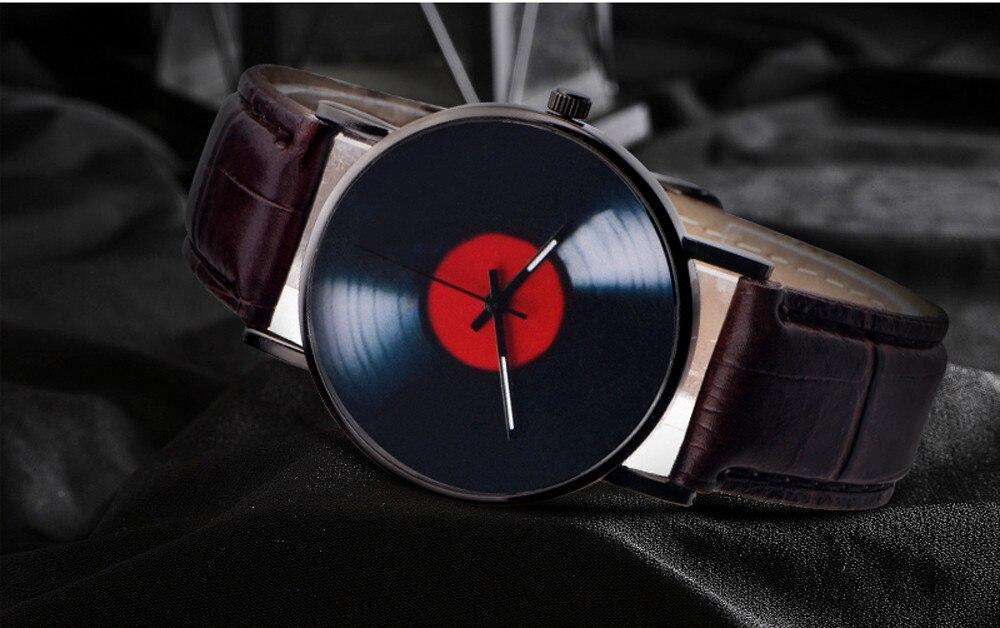 H426e15faf7ca4b729ee5575cf94245fek 2020 Fasion Men's Watch Neutral Watch Retro Design Brand Analog Vinyl Record Men Women Quartz Alloy Watch Gift Female Clock NEW